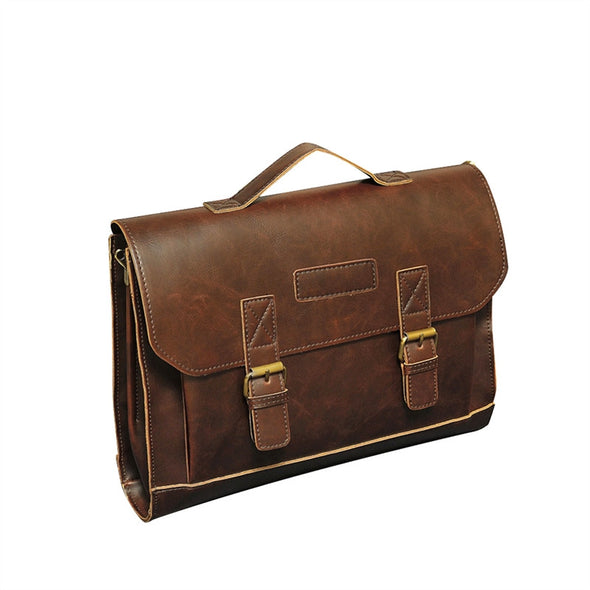 PU Leather Vintage Retro Business Work Men Briefcase Messenger Courier Satchel Bag Laptop Handbag Tote Bag Single-shoulder Bag