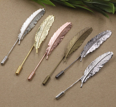 Silver Rose gold Antique bronze Copper metal feather lapel pin for men suits long flower brooch stick safety pin wedding jewelry