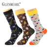 5 Pairs/Lot Combed Cotton Men Socks Plus Size  Quality Coolmax Colorful Pattern Business Funny Happy Dress Wedding Male Socks