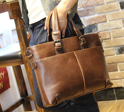 QIGER Fashion Men Leather Bag Famous Brand Shoulder Messenger Bags Business Handbag Laptop Briefcase Male