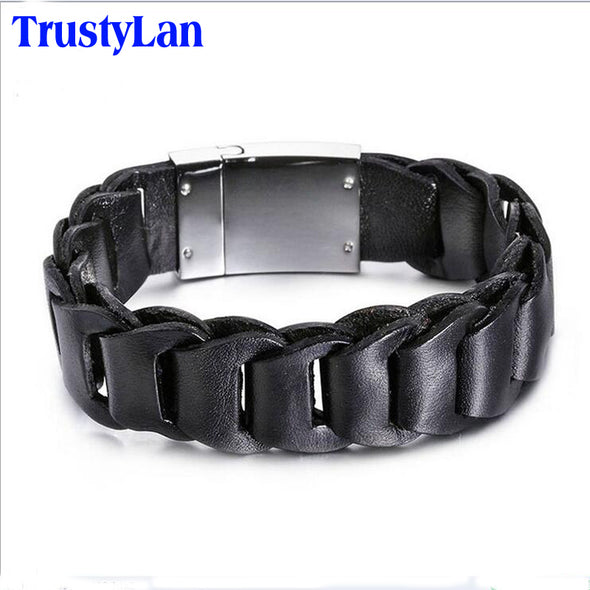 TrustyLan Fashion Male Jewelry Leather Wristband Men Retro Punk 19MM Wide Black Brown Leather Man Bracelets & Bangles 2018