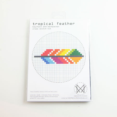 Tropical Feather Keychain - Cross stitch kit