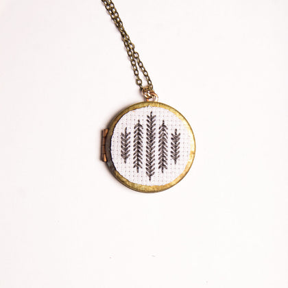 Pearl Swirl Cross Stitch Locket Necklace