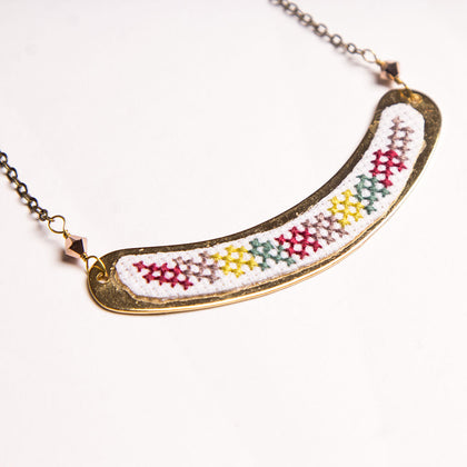 Pearl Swirl Cross Stitch Bridge Necklace