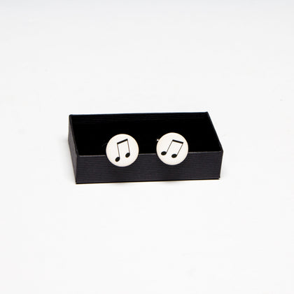 Ceramic Cufflinks with Musical Eighth Note