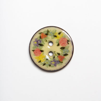 Enamel Roses Coconut Buttons
