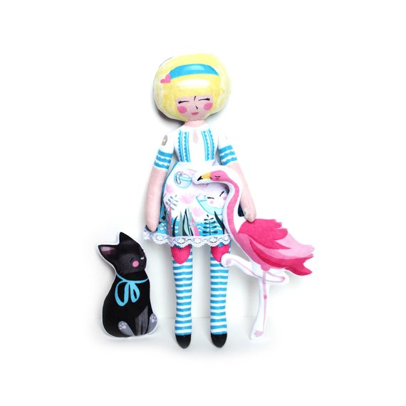 Miss Ella DIY Kit - Alice, Dinah and the Flamingo (and the cheshire cat)