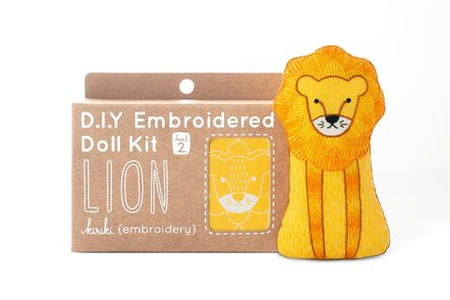 Lion Embroidered Doll Kit