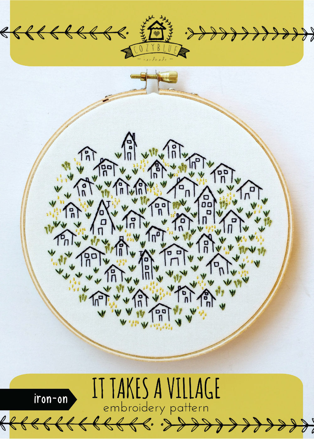 It takes a village iron-on Embroidery Pattern