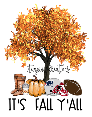 Its Fall Yall with Tree and Sports Helmet