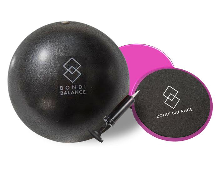 Core Burner Bundle Gliding Discs and Mini Exercise Ball - Bondi Balance