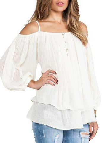 Cream - Off Shoulder Blouse