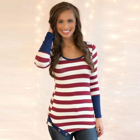 Holly Striped Button Top