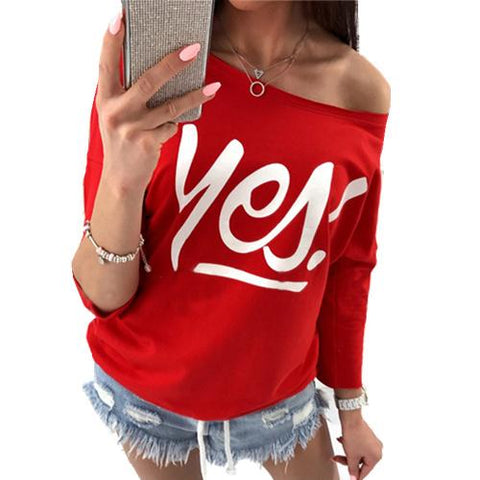 Yes Off the Shoulder Sweatshirt