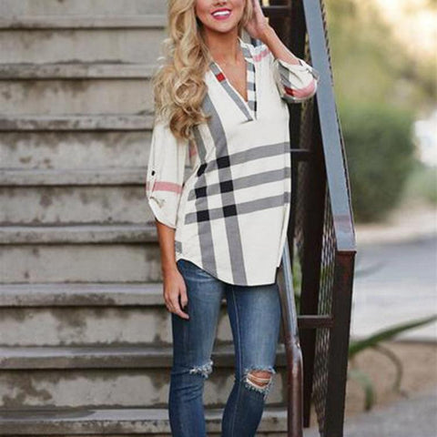 Office Hours Plaid Top