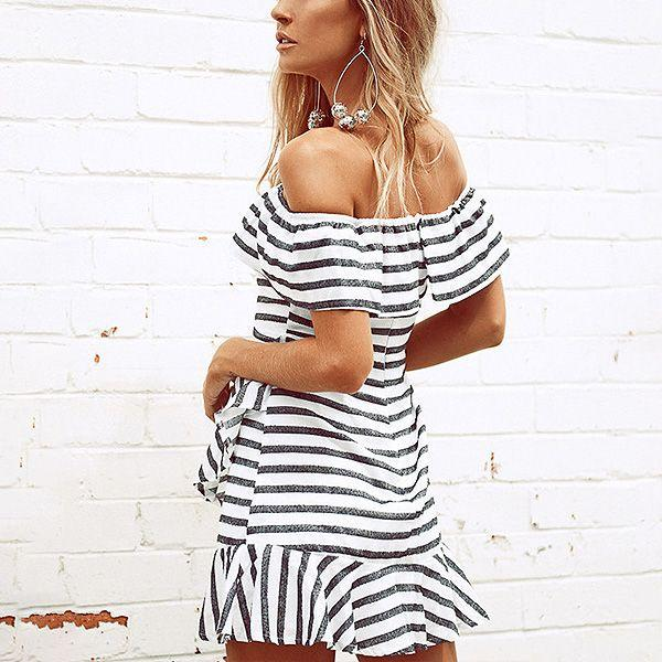 Chloe Frilly Stripe Off Shoulder Dress