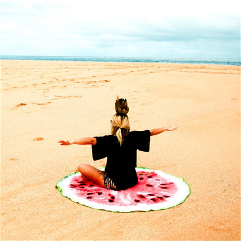 Round Beach Cover Up and Beach Mat Food Printed