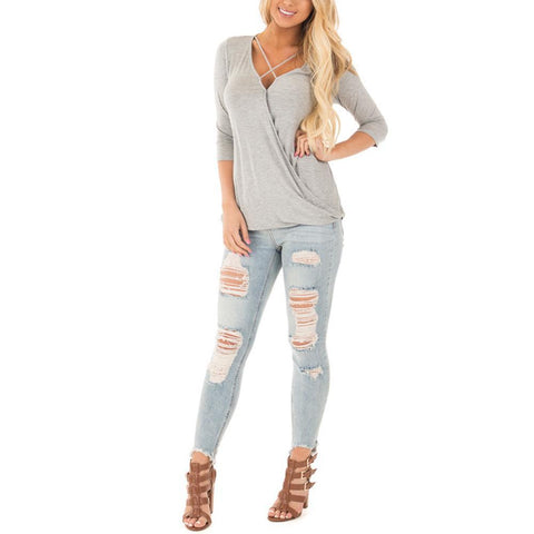 Solid Gray Strap Top