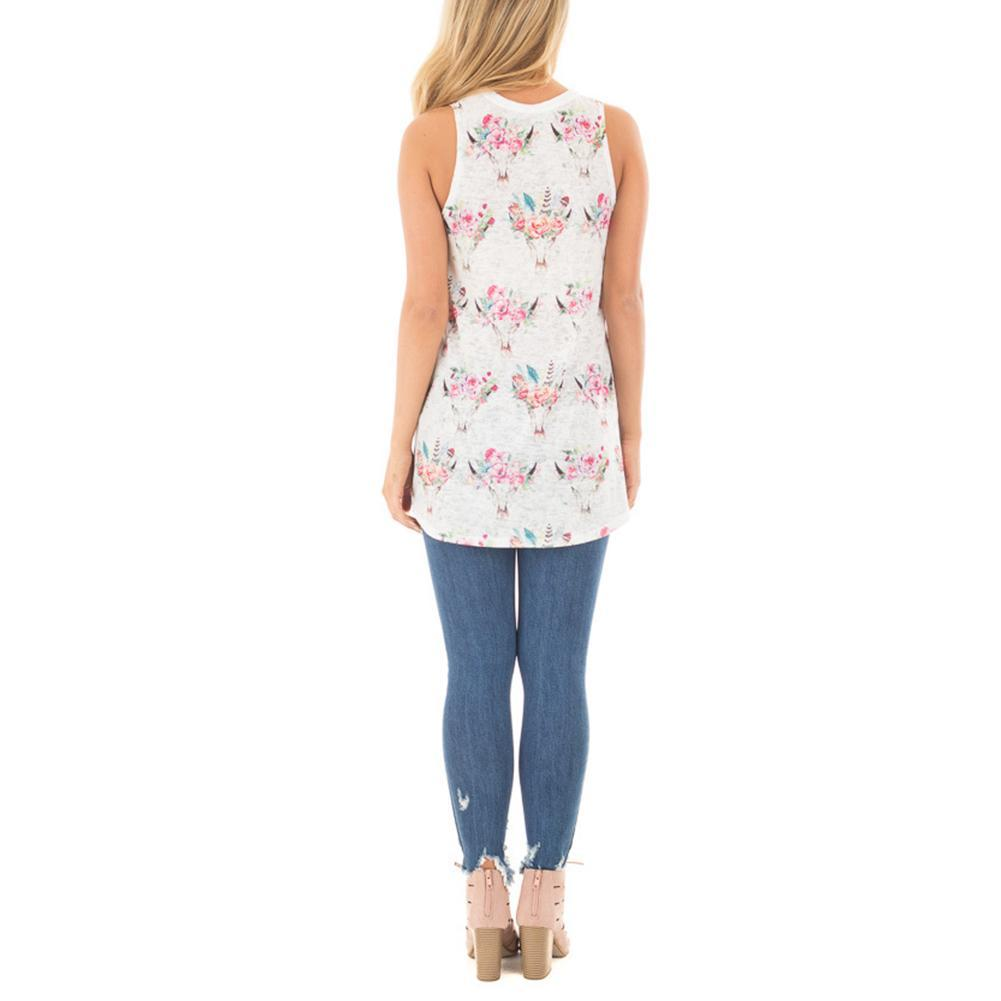Summer Stretch Round Neck Floral Print Tank Top