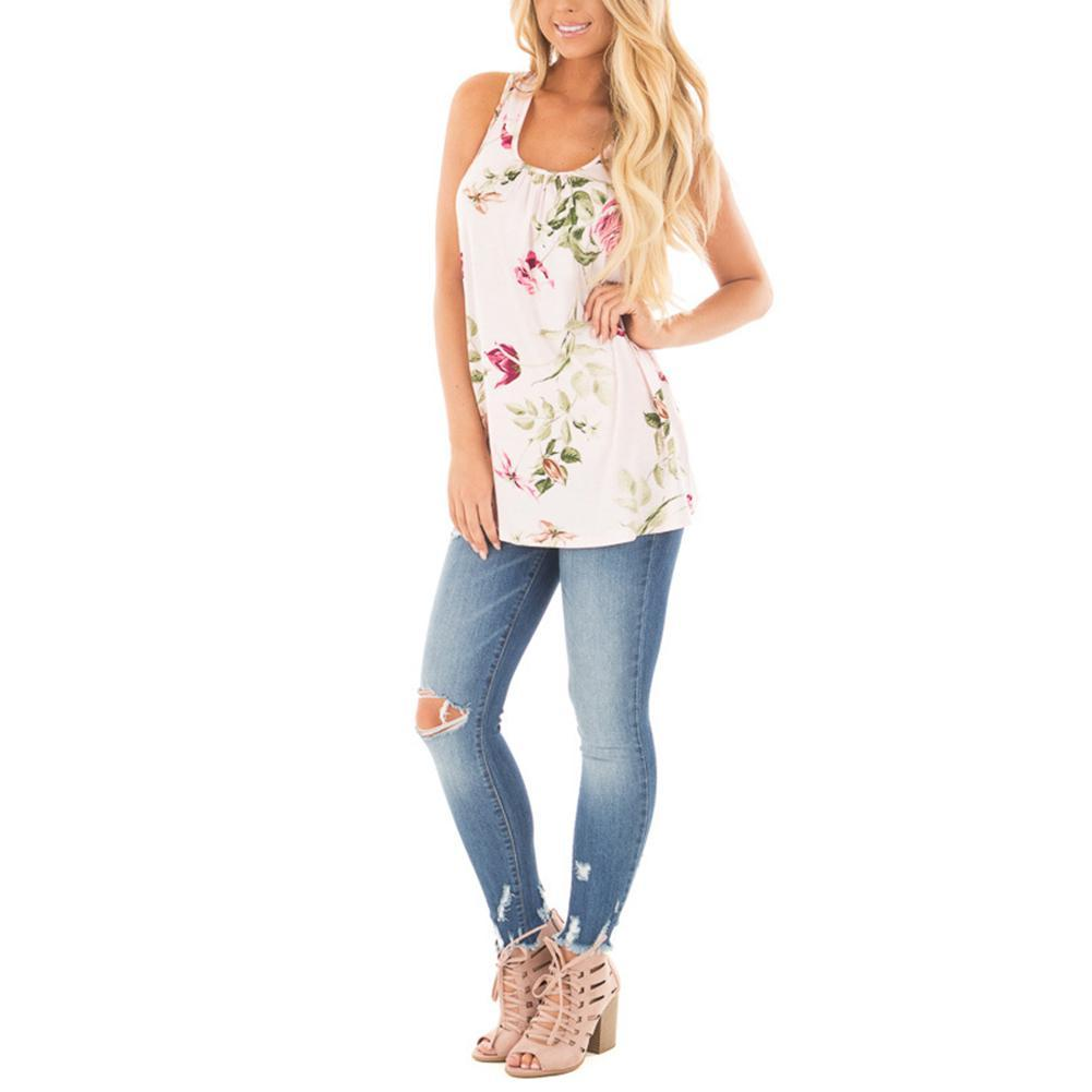 Regular Fit Scoop Ruffle Neck Printed White Tank Tee