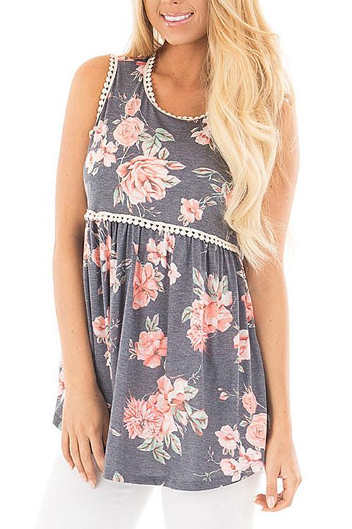 Grey Lace Trim Flowing Babydoll Tank