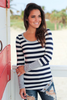 Image of Holly Striped Button Top