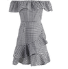 Image of Chloe Frilly Stripe Off Shoulder Dress