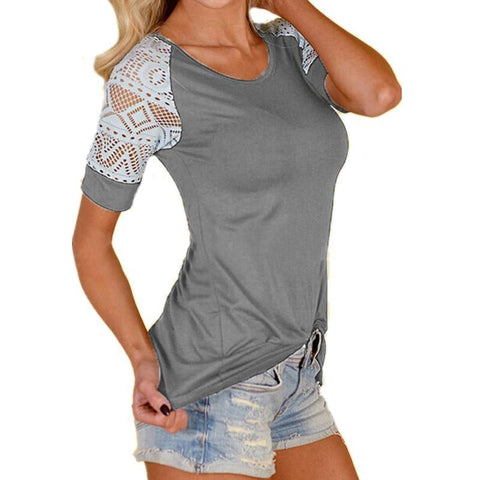 Charlotte Crochet Top - Gray
