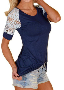 Charlotte Crochet Top - Navy