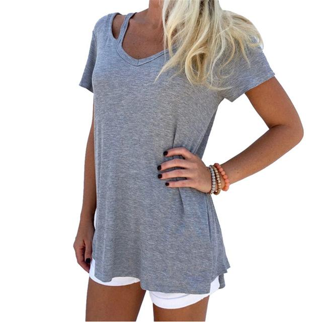 Short Sleeve Solid T-Shirts V-NECK