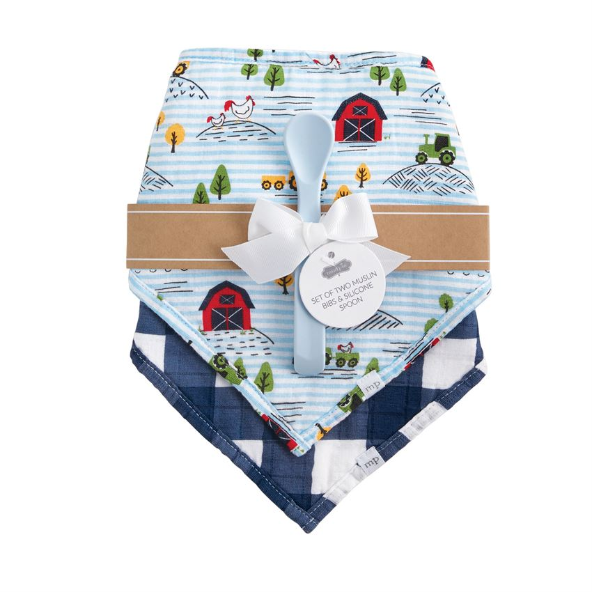 Farm Muslin Bibs & Spoon Set