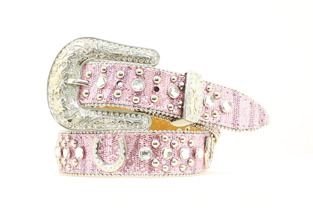 Nacona Girls Pink Glitter with Horseshoe Concho & Rhinestone Belt