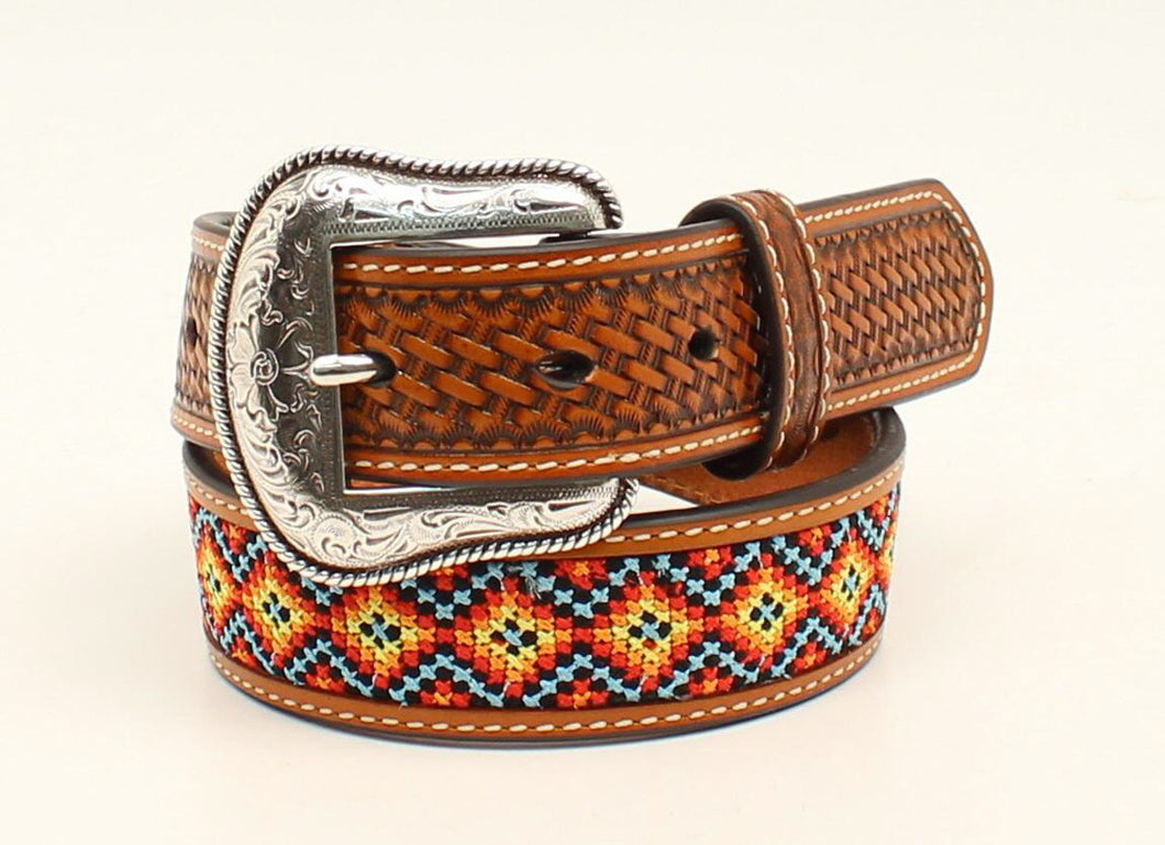 Nacona Tan Embossed with Stitch Inlay Western Belt