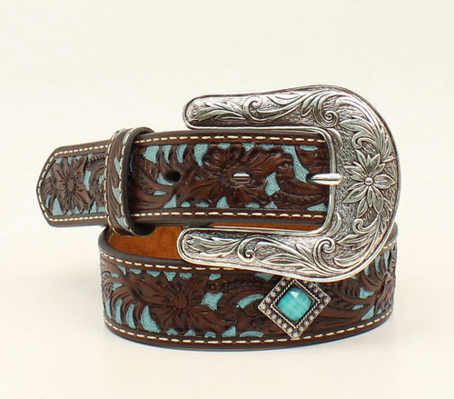 Ariat Girls Tooled Leather with Turquoise Inlay & Conchos