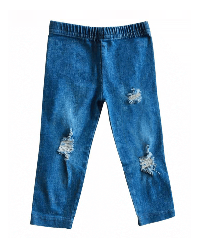 Distressed Denim Jeggings - Light Wash