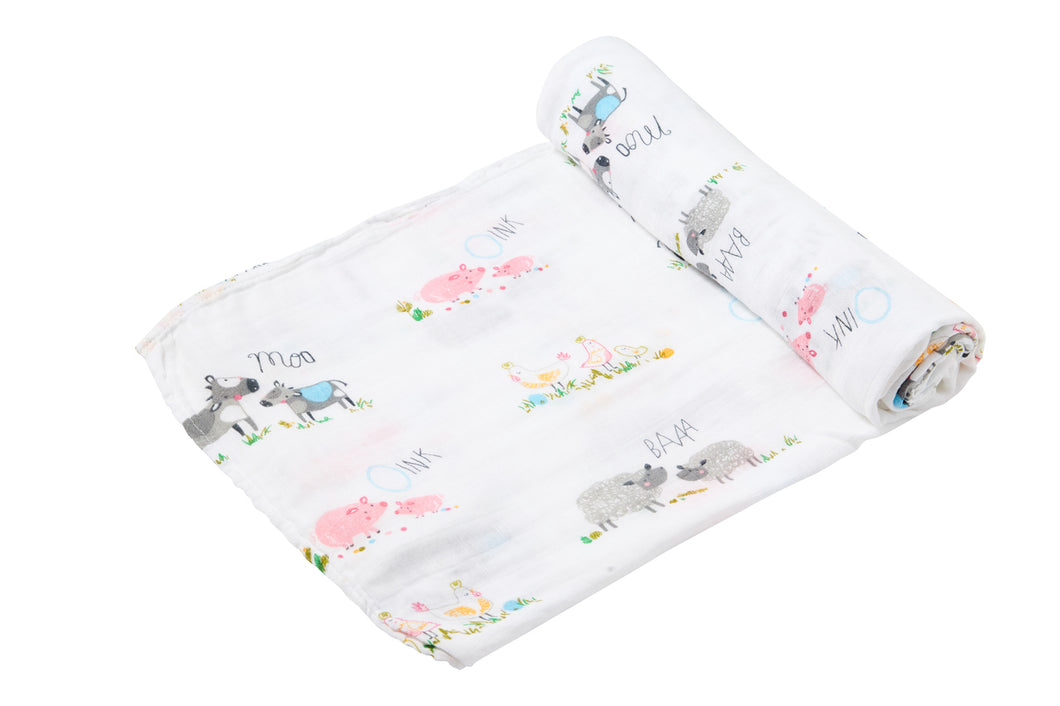 Farm Yard Bamboo Swaddle Blanket