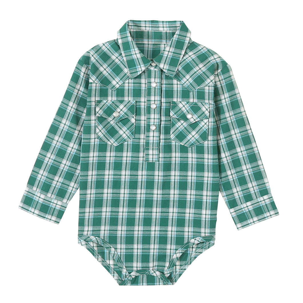 Wrangler Green Plaid Pearl Snap