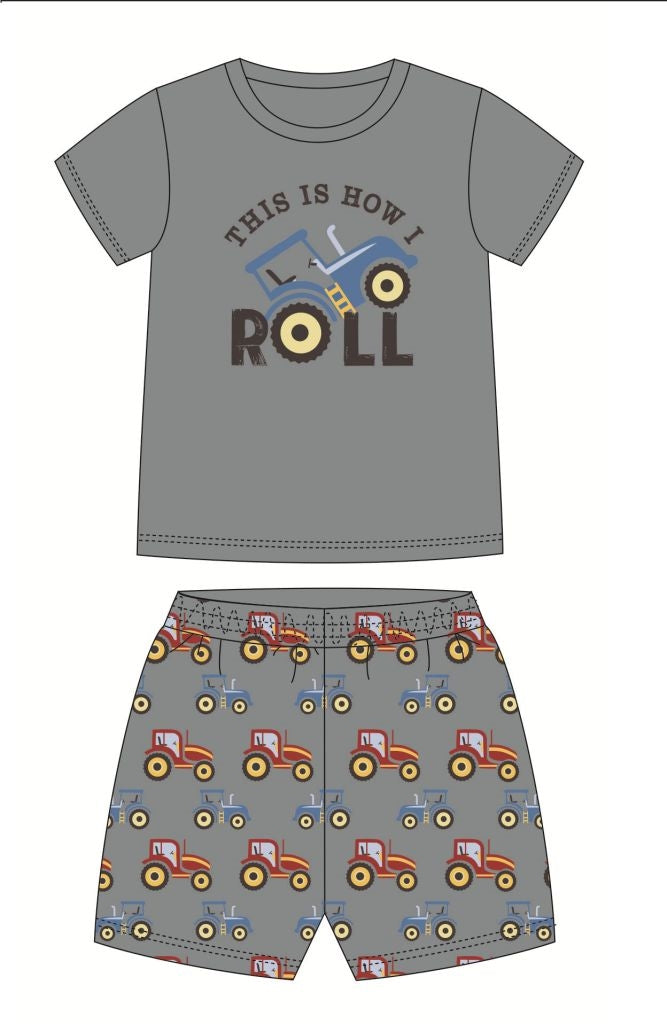 Tractor Pajama Short Set