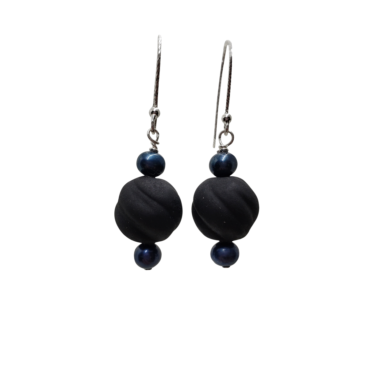 Black Glass & Pearls Earrings