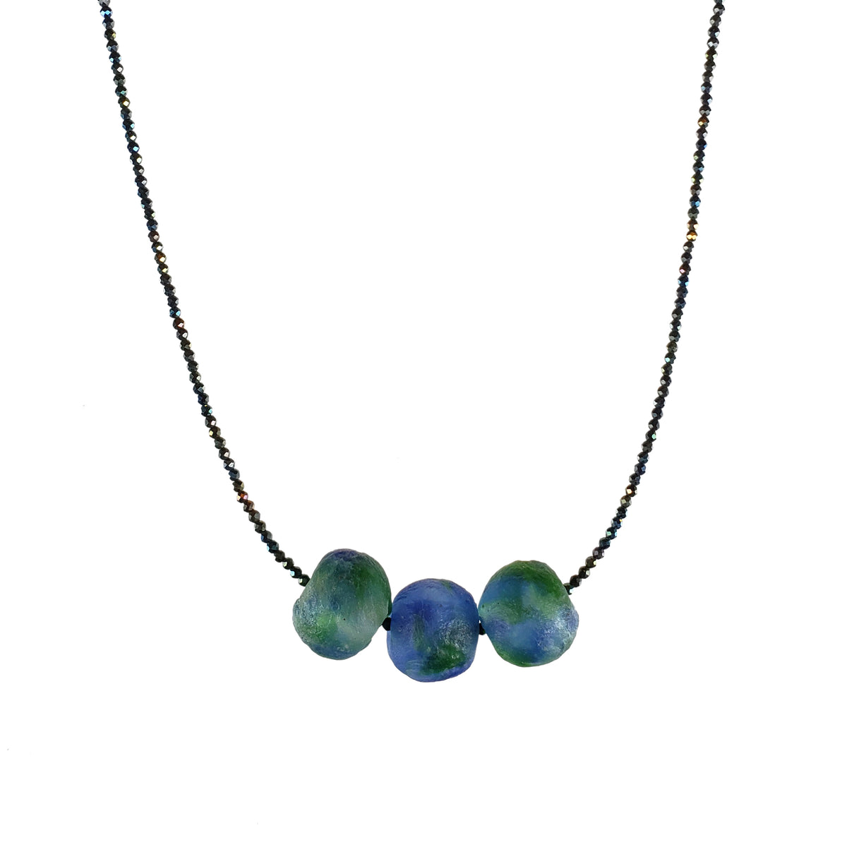 Ghana Blue & Green Glass Necklace