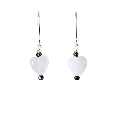 Chalcedony Hearts Earrings