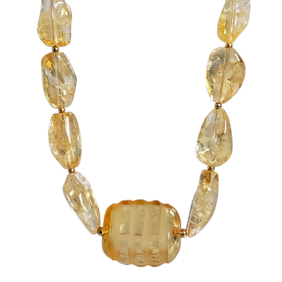 Citrine Nuggets and Italian Glass Necklace