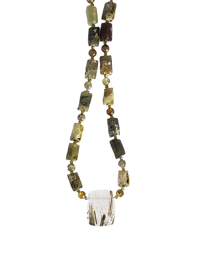 Epidote in Quartz  w Green Garnets Necklace