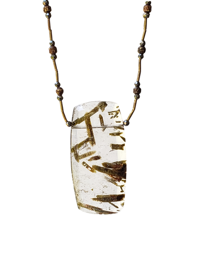 Epidote in Quartz w/Brass Rectangular Necklace