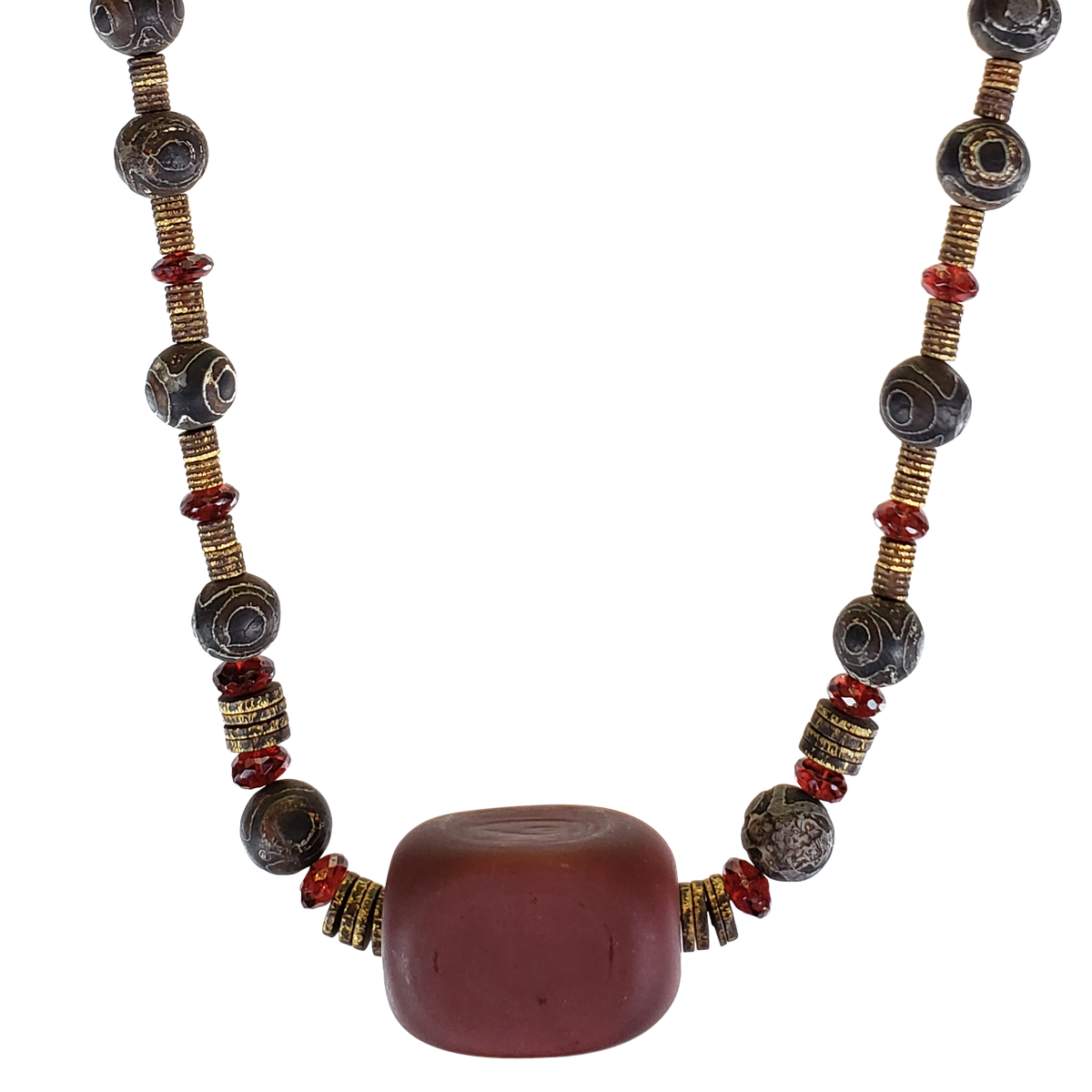 Garnet & Dzi w/ Italian Focal Bead Necklace