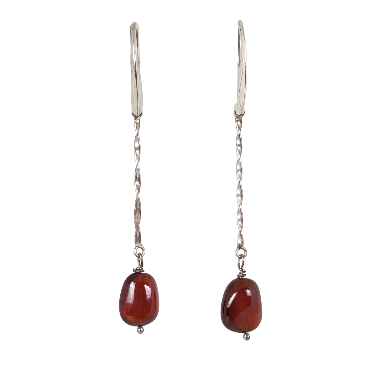 Garnet & Sterling Twist Earrings