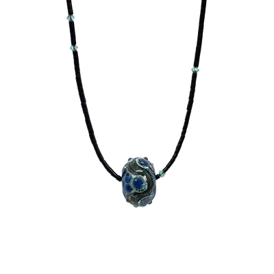 Jet & Glass Necklaces  (Blue, Grn, Or)