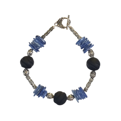 Kyanite & Black Glass Bracelet