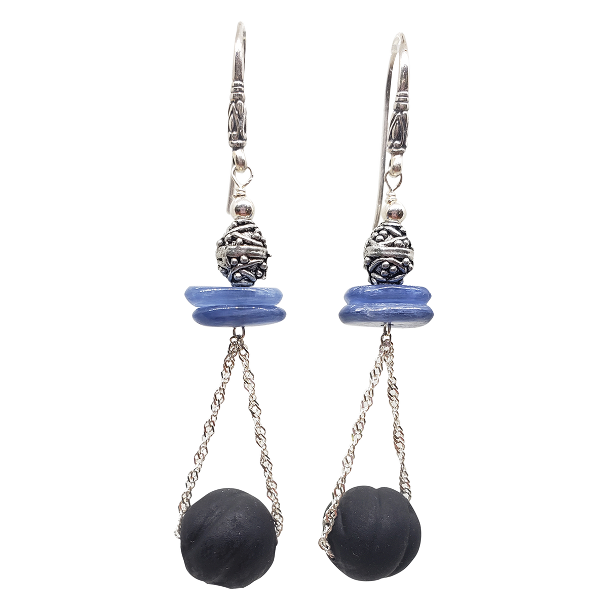 Kyanite Earrings - Sterling Chain Drop