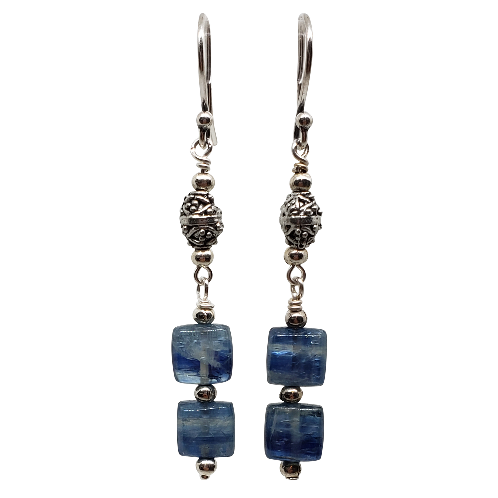 Kyanite & Pewter Two Stone Earrings